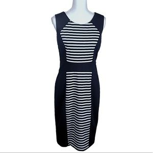 Calvin Klein Black & White Stripe Sheath Dress